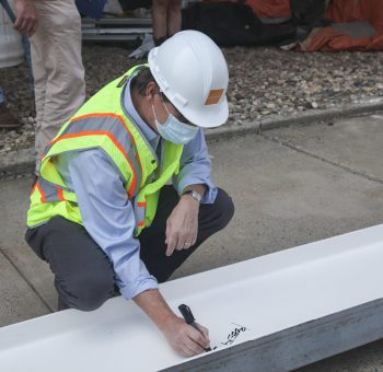 CCSU Engineering Building Beam Signing